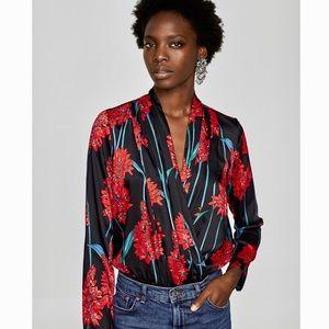 ZARA Floral Long Sleeve Silk Bodysuit Blouse Top S